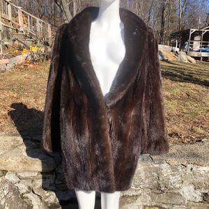 Vintage brown mid length Mink coat fur handmade